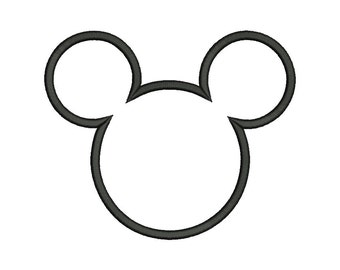 Mickey Ears Applique Embroidery Design - 5 SIZES