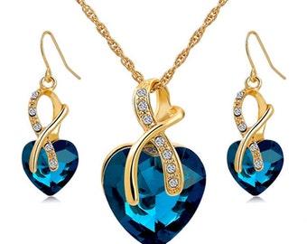 Crystal Gem Heart Necklace Set