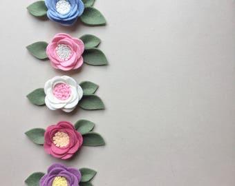 Custom Colour Felt Floral Headband, Nylon Headband, Baby/Toddler Headband,