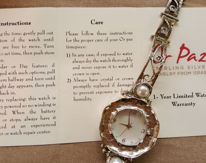 Featured listing image: Or Paz Sterling Silver and Pearl Wrist Watch Ladies Made in Israel  NIB