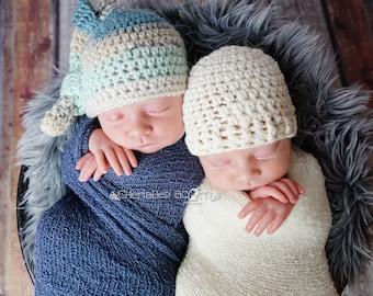 Crochet Newborn Knotted Elf Hat, Boy Beanie, Photo Prop