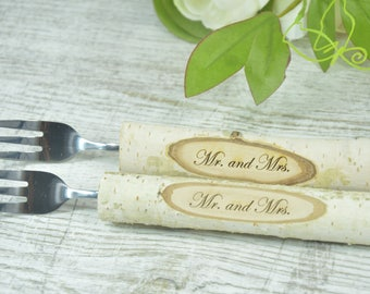 Mr and Mrs wedding forks hand stamped buck doe camouflage wedding camo wedding rustic wedding his and hers hunting country wedding
