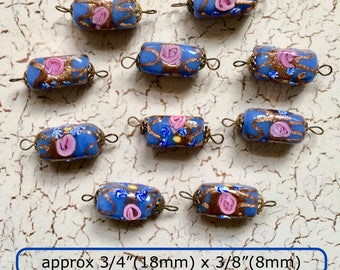 Beautiful Blue 1930s Vintage Venetian Wedding Cake Beads Modified Square Tubes