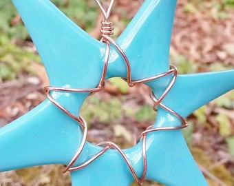 Opaque Turquoise Green Glass Star Wrapped in Copper Wire