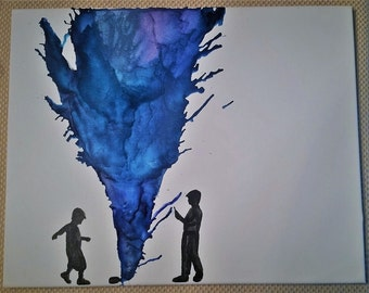 melted crayon canvas, kids playing with gas grenade, melted crayons, canvas, wall decor, wall decoration
