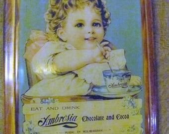 Vintage Wood Ambrosia Chocolate and Cocoa Calendar Holder