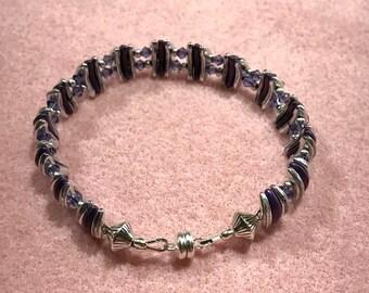 Czech Glass & Swarovski Crystal Bracelet in Purple and Silver