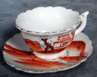 """Japan 2 1/2"""" Flower Shaped Saucer 1 3/4"""" Tea Cup Gold Trim Landscaped Scene"""