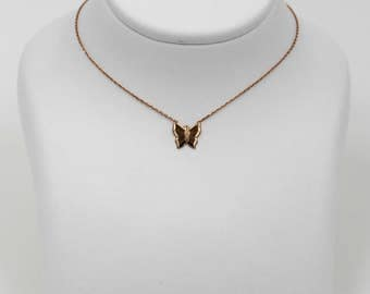 14k Rose Gold Baby Butterfly Charm Necklace