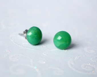 925 Silver studs earrings jadegrün