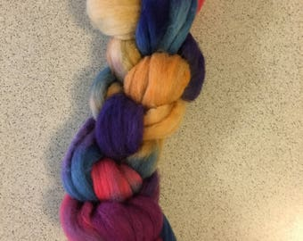 Hand-Dyed, Multi-Colored Wool Roving