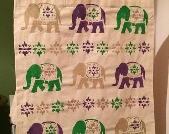 Elephant print canvas tote bag