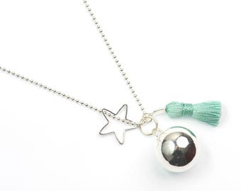 Mexican Bola Pregnancy Necklace With Turquoise Tassel And Star