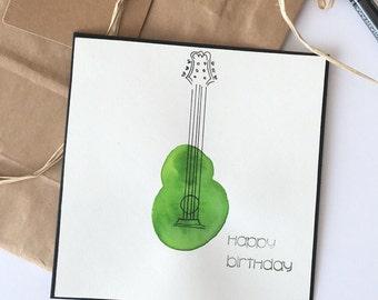 Watercolour guitar handmade birthday card