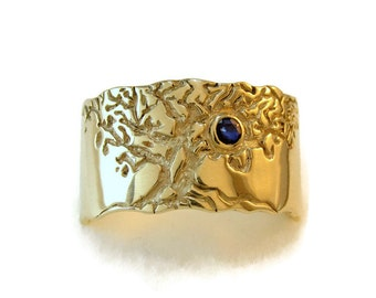 sapphire mens ring, Wedding tree ring, mens engagement ring, mens wedding ring, solid gold mens ring, gold tree ring, Tree of life ring