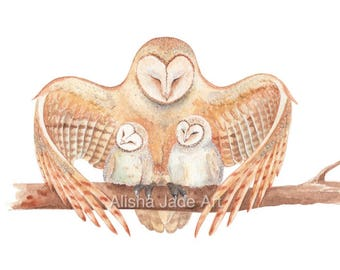 Mother Barn Owl with her Babies, 5x7 Print or A4 Print, Watercolour Print, Nursery Decor, Children's Room, Wall Art