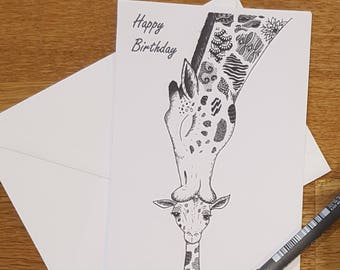 Birthday card   Giraffe kissing baby card   Giraffe card   Doodle card