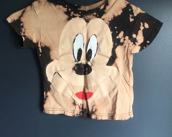 3t, Repurposed, short sleeve mickey shirt ,  bleached distressed