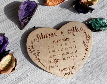 Wedding Hearts - Wedding Save the Date - Save the Date Calendar - Unique Wedding Invitation - Save the Date Heart - Wedding Magnets Calendar
