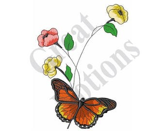 Monarch And Flowers - Machine Embroidery Design