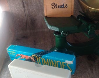 VINTAGE DOMINO MIX, Set of English Dominoes plus Russian Bakelite Dominoes and quirky Stud Box, fun vintage items, old playing sets