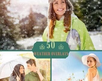 50 Weather photo overlays, Snow overlays, Sun Lens Flare overlays, Rain overlays, Photoshop overlay, Rainbow Overlays, Spring Overlays