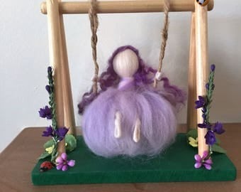 Lavender Fairy Sitting on a Swing, Needle Felt Fairy, Waldorf Inspired