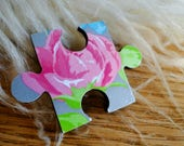 Brooch puzzle piece, rose...