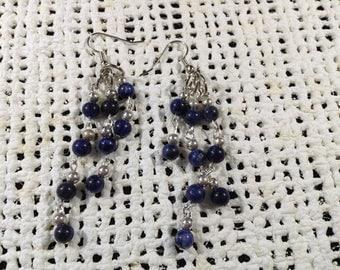 Blue sodalite dangle earrings
