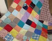 Vintage Quilt, Vintage Polyester Quilt, Colorful Vintage Polyester Blanket