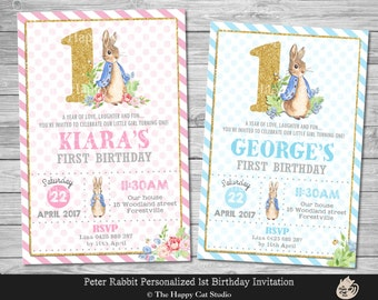 Peter Rabbit Invitation, Personalized, 1st Birthday, Printable, First Party Invites, Digital Print Download File, Boy, Girl, Gold, Bunny