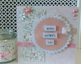 Mother's day card, pink floral card, happy mothers day, flowery card, card for mum, pink flowers, mum card, pretty card, mothers day,