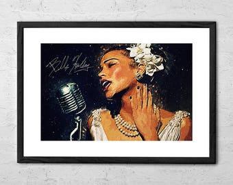 Billie Holiday - Illustration - Billie Holiday Poster - Billie Holiday Art - Billie Holiday Print - Music Poster - Music Print - Jazz Poster