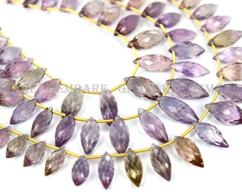 Ametrine Briolettes Dew Drops Faceted Beads, Quality AA, 5x12 to 7x18.50 mm, 18 cm, 23 pieces, AMETRI-025/1, Semiprecious Gemstone beads
