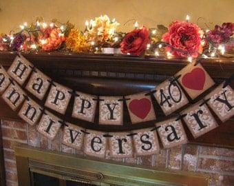 Happy 40th Anniversary Banner/Garland/Anniversary/Party Decoration/Handmade/ Custom/Vintage Inspired/Marriage/Wedding/Photo Prop
