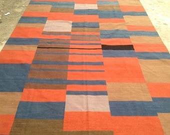 ARTICLE # 6025 Special High Quality Stripped Hand Made Wool Kilim Rug 289 x 200 CM ( 9.5 x 6.6 Feet)