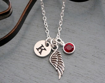 Angel Wing Gifts, Personalized Angel Wing Necklace, Baby Memorial Necklace, Guardian Angel Necklace, Initial Birthstone, Remembrance Gifts