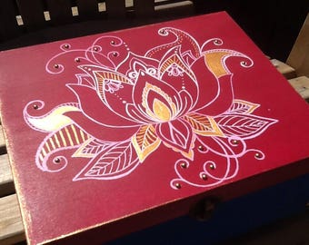 Pink and blue keepsake box with white and gold medhi lotus design and embellishments