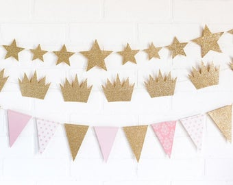Pink and Gold Party Decor/ Gold Star Garland/ Gold Crown Garland/ Pink and Gold Pennant Banner/ Princess Party