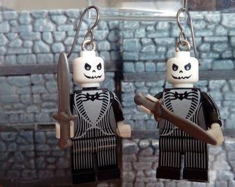 Jack Skellington Earrings Hypoallergenic Geek Titanium Nickel-Free Dangle Goth Disney Tim Burton Nightmare Before Christmas Halloween Gift