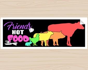 Friends Not Food - Rainbow - Bumper Sticker