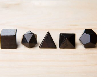 Shungite Platonic Solids Set Tetrahedron Hexahedron Octahedron Dodecahedron Icosahedron Sacred Geometry Shungite Stone Carving