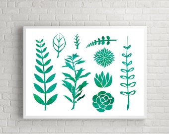Watercolor Plants, Great for Invitations, Wedding, Party, DIY - Download and Print it Yourself - Watercolor Wash