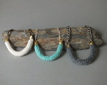 Knitting collar / necklace silver chain / necklace bronze chain