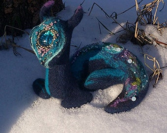 Cosmic Dragon - OOAK handmade needle felted miniature, natural wool and silk, beads, embroidery