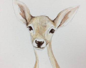 Handmade watercolor painting of a deer