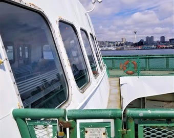 View of Seattle Space Needle from Ferry, Springtime Photograph, City Scenery, Puget Sound Ocean Image