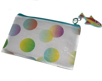 Pencil pouch/case, white with colorful circles
