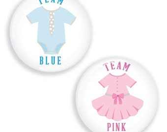 Gender reveal badges Team Blue Team Pink Boy Girl Baby shower