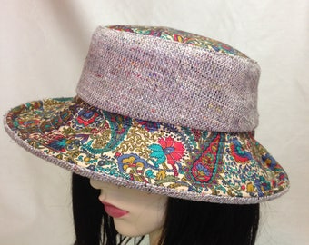 Wide Brimmed , Silk/Linen and Cotton Paisley Summer Hat